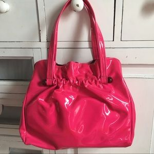 Handbags - Vintage 1960s Hot Pink Patent Handbag with Lucite